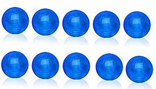 10 x Kugeln Blau leuchtet im Dunkeln Ersatzbatterie (unter UV Licht) 1,2 mm X 4 mm Augenbrauen/Tragus/Knorpel Größe