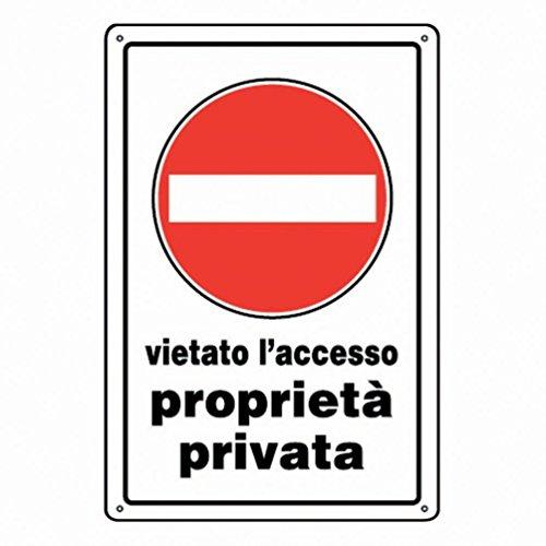 """IRPot - 3 X CARTELLI """" VIETATO L'ACCESSO PROPRIETA' PRIVATA """" SEGNALETICA TARGA"""