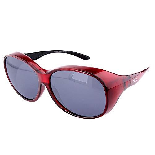 ActiveSol Überziehbrille Damen MEGA | Sonnenbrille polarisiert zum Überziehen | UV400 | Autofahren & Fahrrad | Brille über Brille für Brillenträger | Polbrille | 32g (Rot)