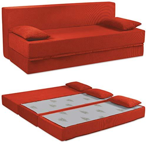 Baldiflex Divano Letto 3 Posti Modello TreTris in Poliuretano Rivestimento Sfoderabile e Lavabile, Colore Rosso Cardinale