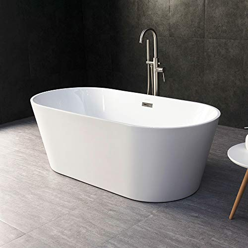 For Sale! WOODBRIDGE 67 Acrylic Freestanding Bathtub Contemporary Soaking Tub with Brushed Nickel O...
