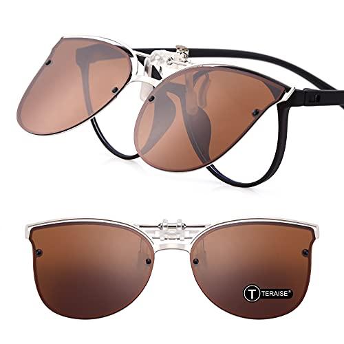 TERAISE Occhiali da Sole Clip-On da Donna per Occhiali da Vista- Occhiali da Sole Vintage Cat Eye Polarizzati da Guida per Donna