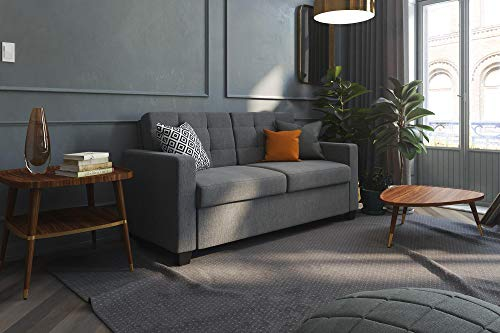Signature Sleep Devon Sleeper Sofa with Memory Foam Mattress, Grey Linen, Full