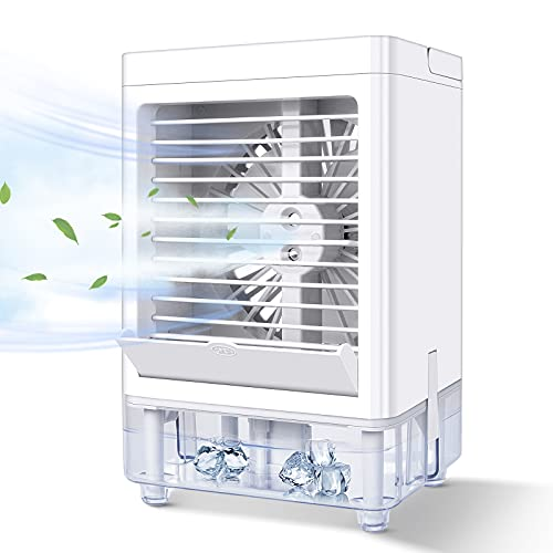 IREENUO Portable Air Cooler, 3 in 1 Mini Mobile Air Conditioner, 3 Speeds Evaporative Cooling Fan Humidifier Purifier for Home Bedroom Office Indoor (White)