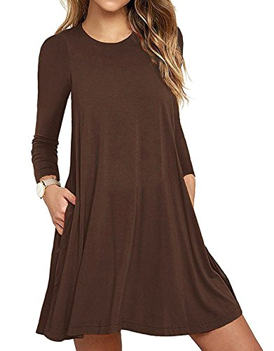 Aserlin Women's Long Sleeve Pocket Casual Loose T-Shirt DressBrown-S