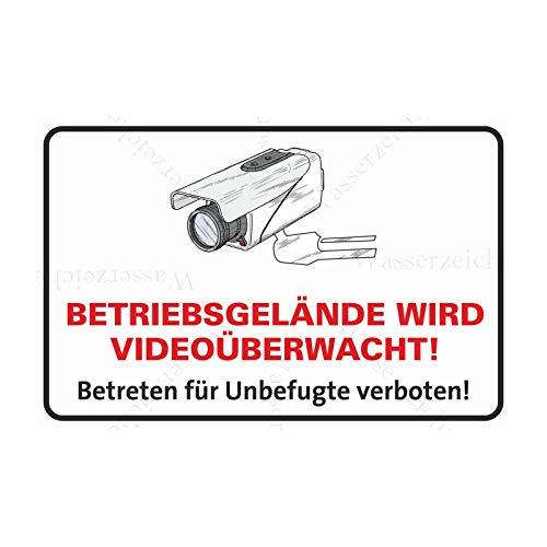 60cm! 4Stück!Aufkleber-Folie Wetterfest Made IN Germany Warnung Achtung Videoüberwacht CCTV Alarm gesichert Betriebsgelände S912 UV&Waschanlagenfest-Auto-Sticker Decal Profi Qualität