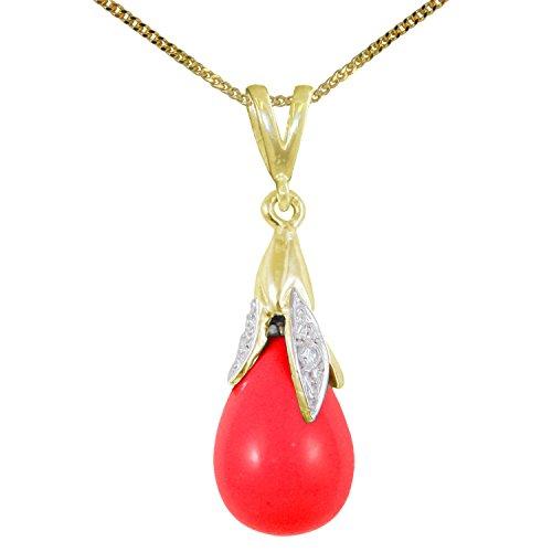 BJC® 9ct oro Amarillo Natural Coral rojo & Diamond Cabachon Briolette Drop colgante de 0.75ct opcional collar se vende por separado