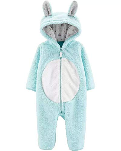 Bunny Zip-up Hooded Sherpa Jumpsuit 18 Months Mint Green