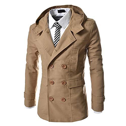 AOWOFS Herren Trenchcoat mit Kapuze Kurz Regular Fit Mantel Jacke für Sommer Herbst