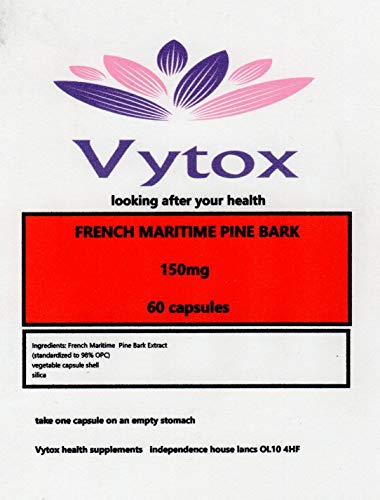 French Maritime Pine Bark 150mg Super Strength, 60 Capsules, 2 Months Supply, P' Word Antioxidant, by vytox