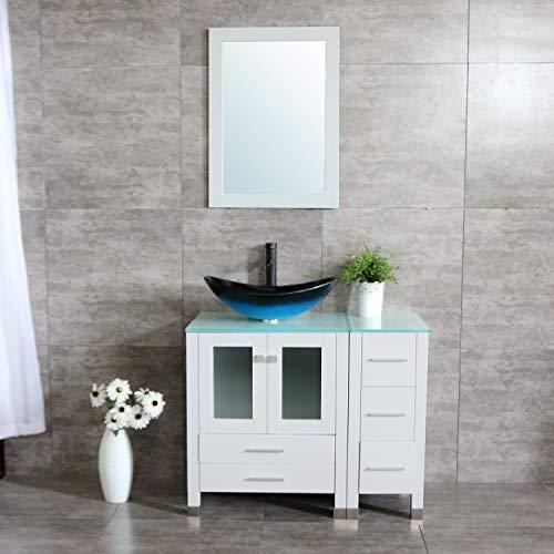 Wonline 36'' White Modern Wood Bathroom Vanity Cabinet Oval Tempered Glass Vessel Sink ORB Faucet Drain Combo Design with Mirror Modern Vanities Set