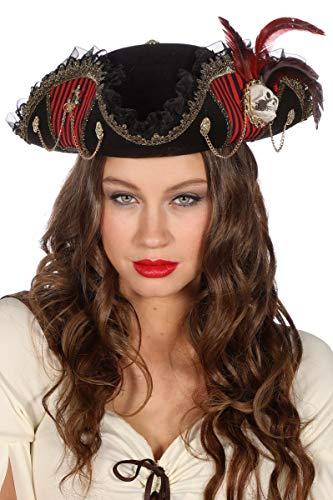 Wilbers Kostüm Zubehör Damen Piratenhut Dreispitz Piratin Karneval Fasching