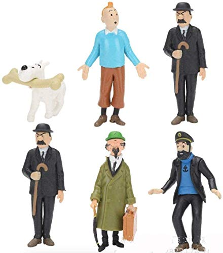 6 Piezas Las Aventuras de Tintín Figura muñecas Juguetes Regalo de cumpleaños para niños