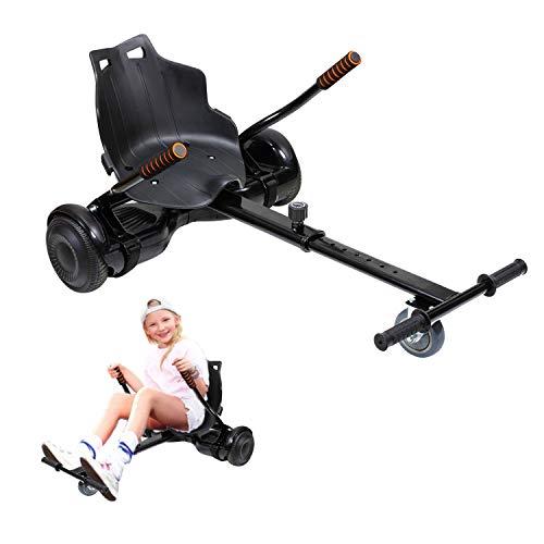 Hoverkart, Kart Ajustable para Scooters eléctricos de autoequilibrio, Asientos de Hoverboard, Karts compatibles con Todos los Scooters-6.5 / 8.5 / 10 Pulgadas, Regalos para niños y Adultos( negrol)