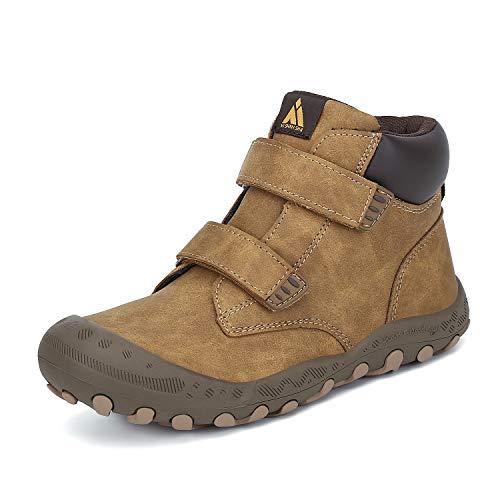 Mishansha Kids Outdoor Ankle Hiking Boots Non Slip Trekking Walking Shoes with Hook and Loop, C-Brown 4 Big Kid