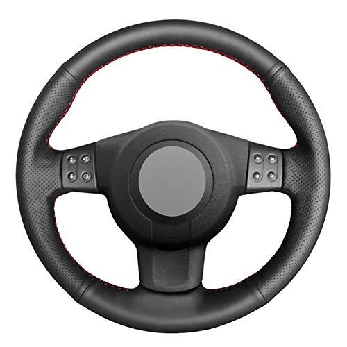 YHDNCG La Cubierta del Volante del Coche de Cuero Negro Cosida a Mano es Antideslizante y Resistente al Desgaste, para el Interior del Coche Seat Leon (Mk2) 2006-2008 Ibiza (6L) 2007