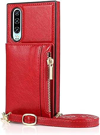 SLDiann Case for Huawei P30, Zipper Wallet Case with Credit Card Holder/Crossbody Long Lanyard, Shockproof Leather TPU Case Cover for Huawei P30 (Color : Red)