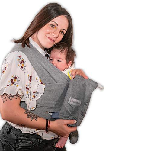 Fascia Porta Bebè BabyWellness Certificata UE | 95% Cotone BIOLOGICO | Marsupio Ergonomico Per Neonati e Bambini fino a 15 kg | (0-36 mesi) | 510x45cm