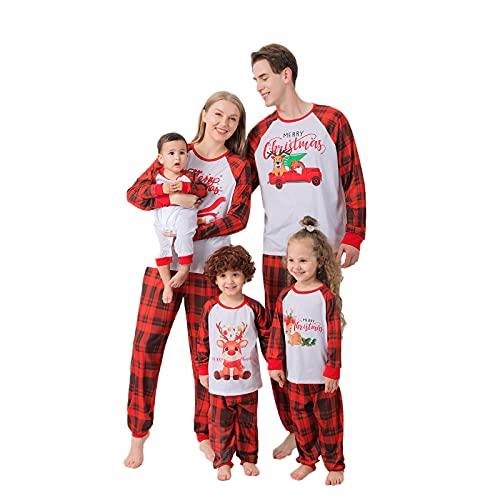 K-Youths 2PCS Juego de Pijamas navideños Familiares a Juego Niños Niñas Mujeres Ropa de Dormir para Hombre Holiday PJ Sets Pijamas de Halloween