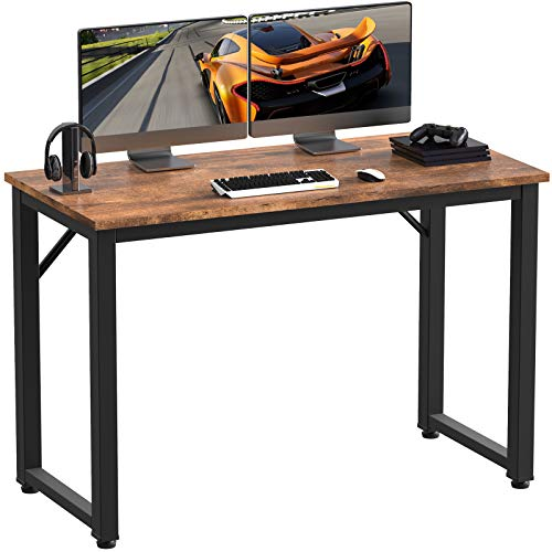 LEMBERI Computer Desk 39 inches, Home Office Student Desk, Study Writing Work Table,Stable Modern Simple Style PC Desk for Small Space,Workstation,Rustic Brown