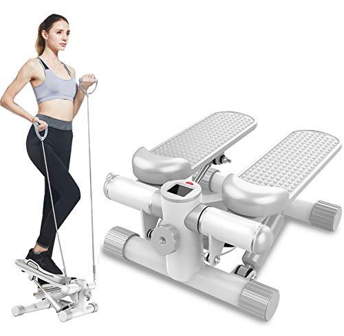 DODOBD Mini Stepper, Twister Stepper mit Power Ropes und LCD-Display, Stepper für Zuhause, Stepper Heimtrainer für Bein- und Po-Training, Pedalmaschine, Maximale Belastbarkeit: 150 KG