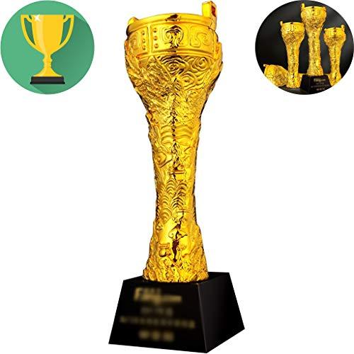 Trofee Milieubescherming Hars Eerste Plaats Gouden Trofee Thuis Open Haard Desktop Vergulde Decoratieve Decoratie Herdenkingsgeschenken Belettering (Color : Gold, Size : 30 * 8cm)