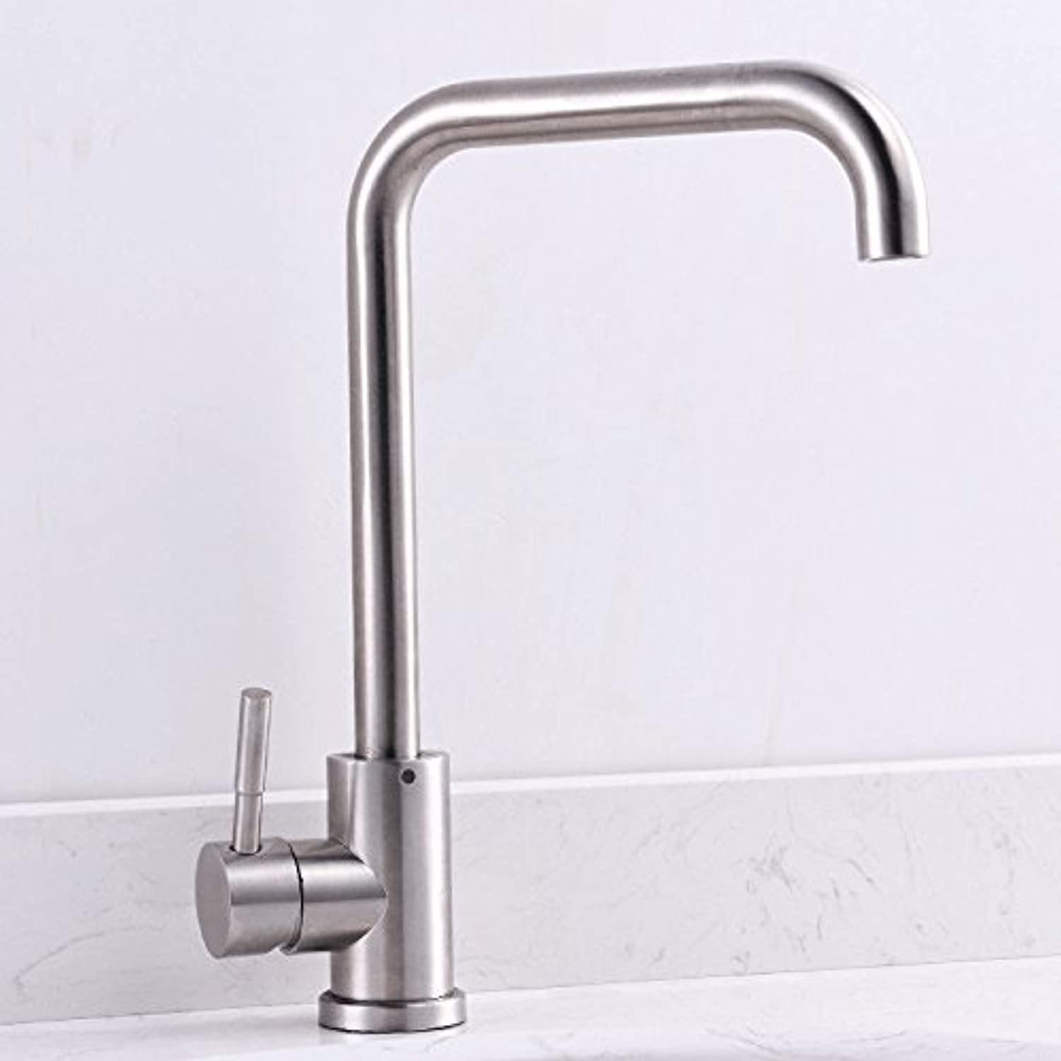 Commercial Single Lever Pull Down Kitchen Sink Faucet Brass Constructed Polished Lead-Free 304 Stainless Steel Kitchen Faucet 360 Degree redating Hot and Cold Basin Faucet