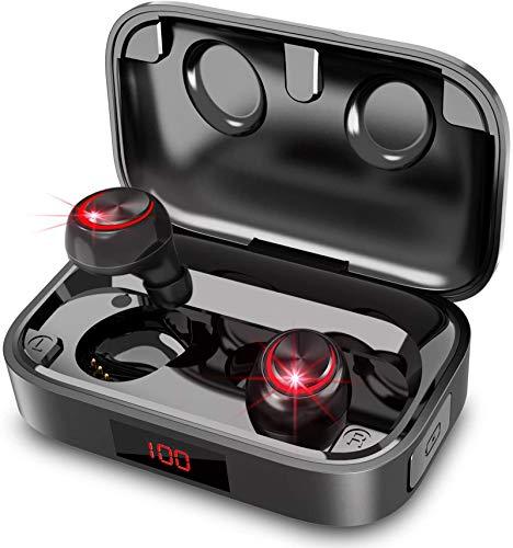 Bluetooth Kopfhörer In Ear,In Ear Kopfhörer Kabellos mit HD-HiFi-Stereo-CVC8.0-Bluetooth-Kopfhörer mit Rauschunterdrückung und Mikrofon, IPX8 Wasserdicht,100-Stunden-LED-Anzeigezeit 2000 mAh