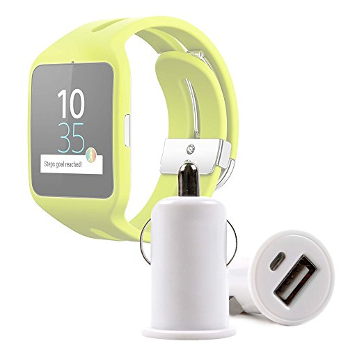 DURAGADGET Cargador De Mechero del Coche con Puerto USB para Reloj Sony Smartwatch 3 Sport | Garmin Forerunner 230 - ¡No Se Quede Sin Batería Mientras Conduce!