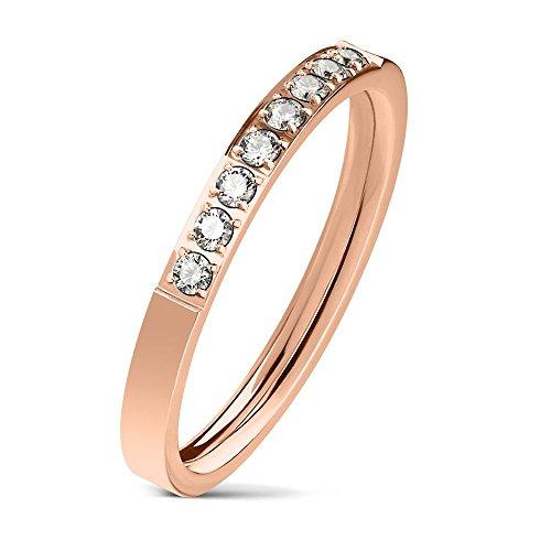 Bungsa 54 (17.2) rosegoldener Damen-Ring schmal 8 Kristalle Edelstahl rosé für Frauen