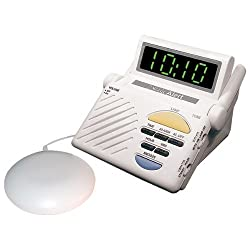 Sonic Bomb Digital Alarm Clock with Super Shaker Vibrator with 113 DB Extra-Loud Alarm & Large LED Display, Built-in Receiver is Compatible with Sonic Alert's Complete Line of Signaling Products