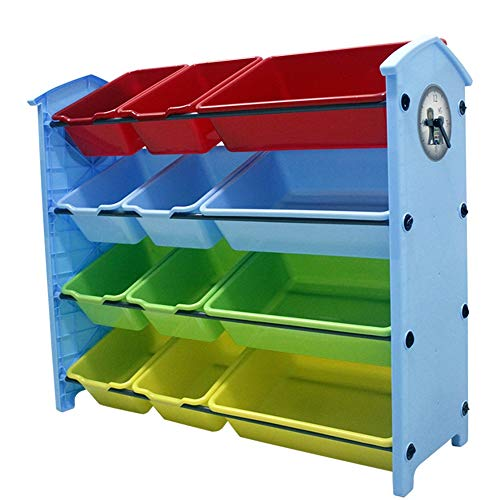 NAN Liang - Toy Storage Unit Children Toy Box Organizer with 12 Removable Plastic Bins for Home and School 3 Colors (Color : Blue)