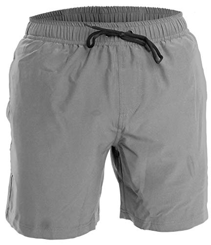 Men's Swim Trunks and Workout Shorts - L - Gray - Perfect Swimsuit or Athletic Shorts for The Beach, Lifting, Running, Surfing, Pool, Gym. Boardshorts, Swimwear/Swim Suit for Adults, Men's Boys