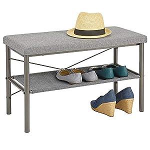 mDesign Taburete zapatero – Estrechos zapateros metálicos para guardar sandalias, zapatillas y bailarinas – Banco zapatero de metal con acolchado para el pasillo y el recibidor – gris grafito y gris