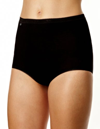 Sloggi sloggi Basic+ Maxi 4P, Culotte Taille haute Femme, Noir (BLACK 0004), 46 (Taille fabricant: 44) Lot de 4