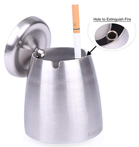 LOTUS LIFE Ashterior Ashtray with lid for Cigarettes Windproof Stainless Steel Outdoor...