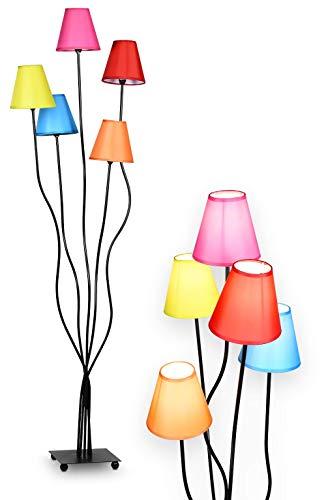 NÄVE Stoff Stehlampe Colori 5-flammig - Stehleuchte 156 x 23,5 cm mit 5x E14 Fassung 40W - Standleuchte modern & bunt ideal für Wohnzimmer & Schlafzimmer - Wohnzimmerlampe, Standlampe, Leselampe