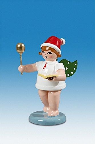 Bakkerengel kerstengel met lepel en kookboek met muts hoogte ca. 6 cm NIEUW houten gel kerststengel Ertsgebergte hout