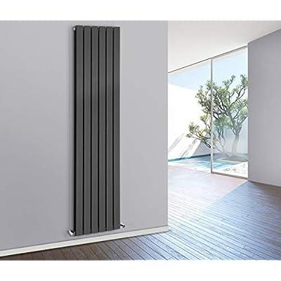 NRG 1800x408mm Vertical Flat Panel Designer Radiator Bathroom Heater Central Heating Rad Single Column Black
