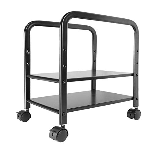 Computer Tower Stand CPU Holder, 360Tronics Adjustable Desktop ATX-Case Cart 2-Tier CPU Steel Rolling Stand, Mobile Tower Case Cart with Locking Caster Wheels for Office Home (Black)