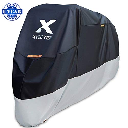 XYZCTEM Motorcycle Cover – All Season Black Waterproof Outdoor Protection – Fit for 108 inch Tour Bikes Choppers and Cruisers – Protect Against Dust Debris Rain and Weather XXL with Logo