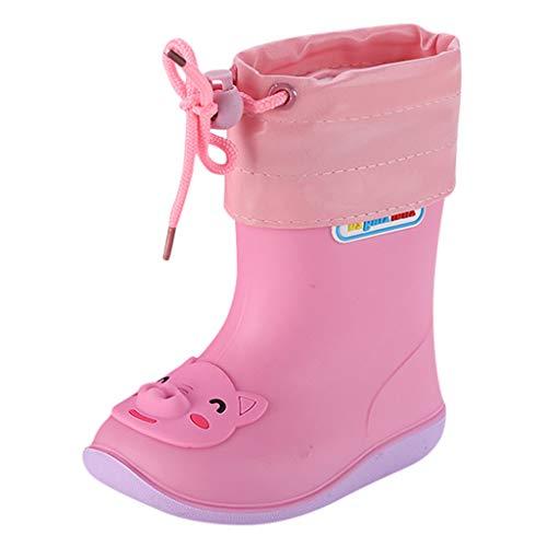 BaojunHT Unisex-Kinder-Gummistiefel mit verstellbarem Kordelzug, wasserdicht, rutschfest, Pink - Rosa, Schwein - Größe: 24 EU