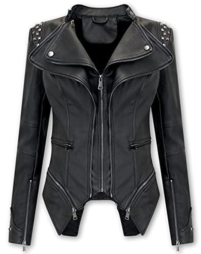 Bludeise Jas Chaqueta De Cuero Biker para Mujer - AY156 - Negro Dames - AY156 - Zwart