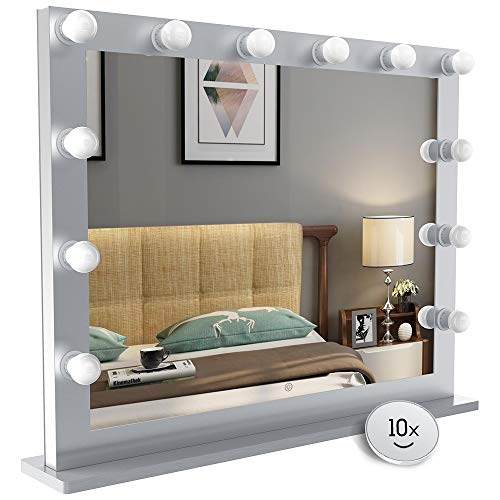 Nitin Hollywood Style Lighted Vanity Mirror, Tabletop Makeup Mirror with Dimmer Lights, -