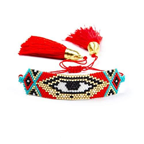 Bracelet Women Turkish Evil Eye Bracelet Jewelry Red Beaded Loom Star Handmade Tassel Length About 20.4 Cm