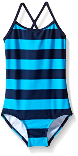 Kanu Surf Girls' Big Beach Sport Banded 1 Piece Swimsuit, Layla Navy/Aqua Stripe, 10