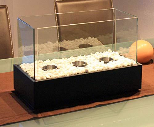 Smartweb Bio Ethanol Kamin Tischkamin 45cm x 28cm x 21cm Gelkamin Gartenkamin inklusive 3 Brennkammern