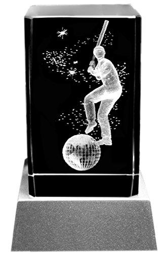 Kaltner Präsente Sfeerlicht - een heel bijzonder cadeau: led-kaars/kristalglazen blok/3D-lasergravure sport motief wereldbol Baseball