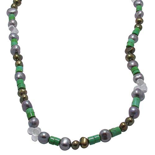 Damen Perlen-kette mit Süßwasser-Perlen Türkis und Bergkristall weiß 128 cm lang