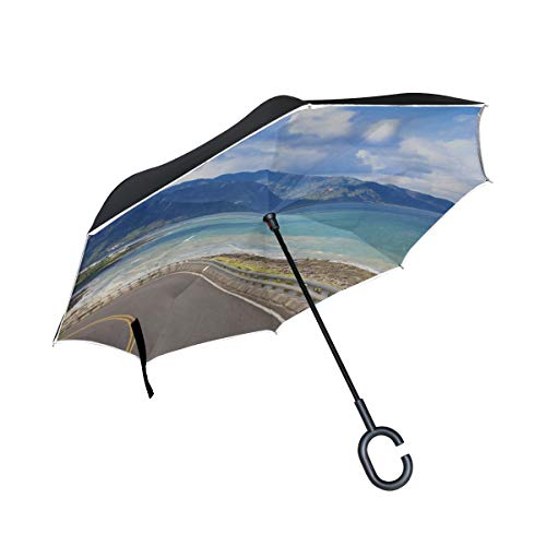Double Layer Inverted Wendeschirm für Männer Peinliche Straße in der Nähe von Meer Taschenschirm für Kinder Regenschirm Reverse Folding Large Windproof UV-Schutz für Regen Mit C-förmigen Griff